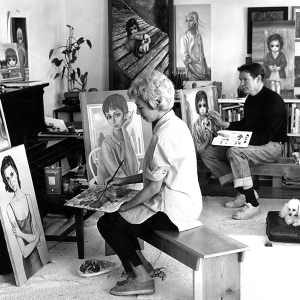 Margaret Keane and husband Walter add finishing touches to portraits of Natalie Wood in their San Fr