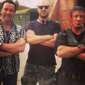 Schwarzy et Sly sur le tournage d'Expendables 3.