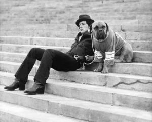 Stallone sur le tournage de Rocky 2.