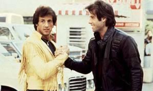Sylvester Stallone et John Travolta sur le tournage de Staying Alive