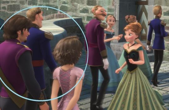 oui, raiponce et eugene faisaient bien une apparition dans la reine des neiges