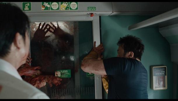 dernier train pour busan wagon silhouettes zombies porte