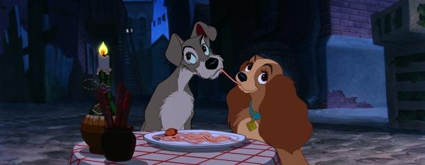 la belle et le clochard spaghettis romance disney