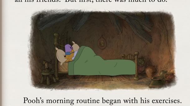 winnie l ourson dans son lit