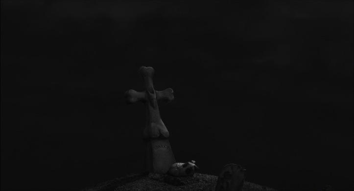 frankenweenie image symbolique de sparky dormant au pied de sa tombe