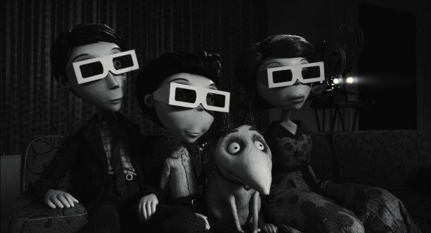 frankenweenie les frankenstein et sparky regardent un film en 3D