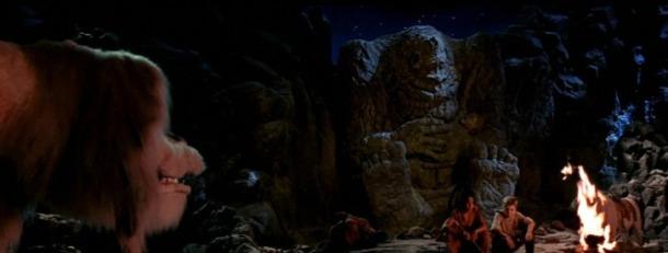 histoire sans fin 2 atreyu artax le mangeur de pierres bastien et falkor autour d un feu