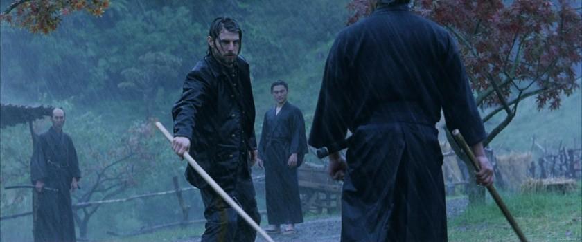 le dernier samourai affrontement au baton sous la pluie