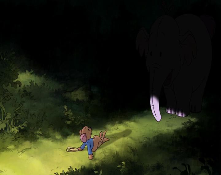 winnie l'ourson et l'éfélant petit gourou face à l'éfélant lumpy