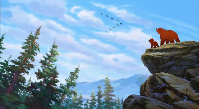 frere des ours 2 kinai et koda sur un rocher