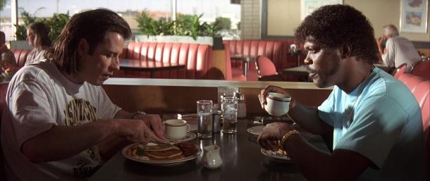 Pulp-Fiction vincent et jules à table