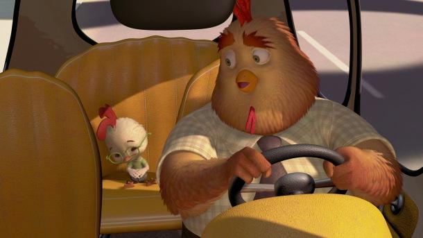 chicken-little dans la voiture de son pere