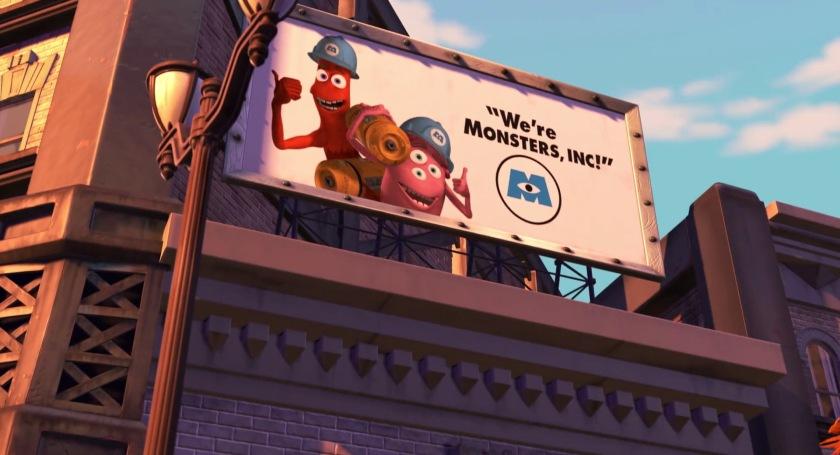 monstres et compagnie panneau publicitaire