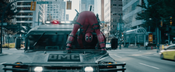 Deadpool-2 conduite à l'envers