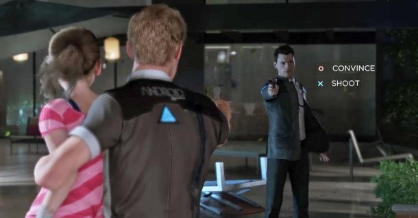 Detroit-Become-Human connor face à un androide defectueux ayant pris en otage une fillette