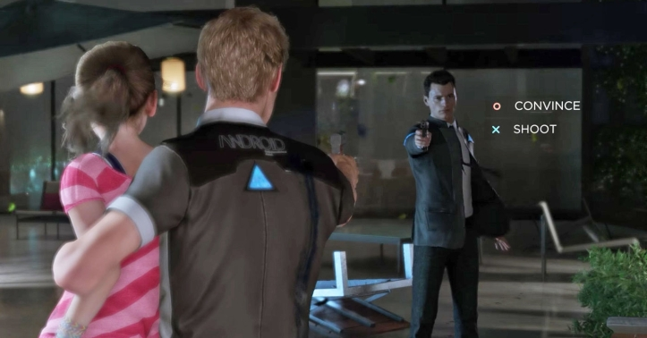 Detroit-Become-Human connor face à un androide defectueux ayant pris en otage une fillette