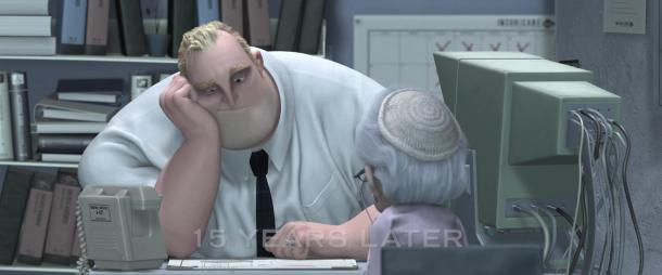 les indestructibles bob triste à son bureau