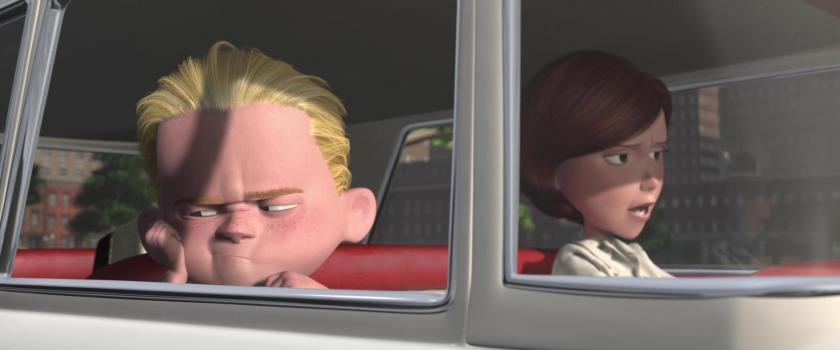 les indestructibles helene dans sa voiture avec son fils fleche