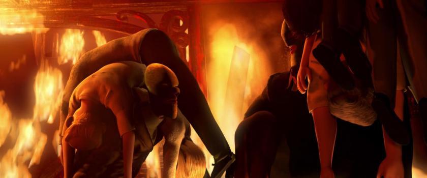 les indestructibles lucius et bob masqués sauvant du feu des gens