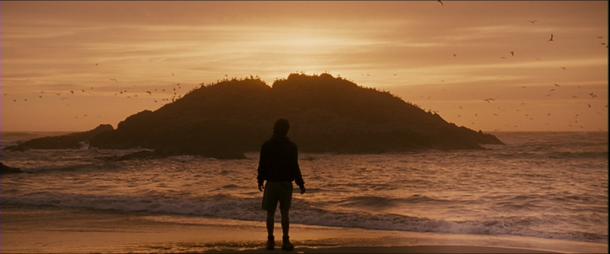into the wild christopher face à au soleil se couchant sur la mer