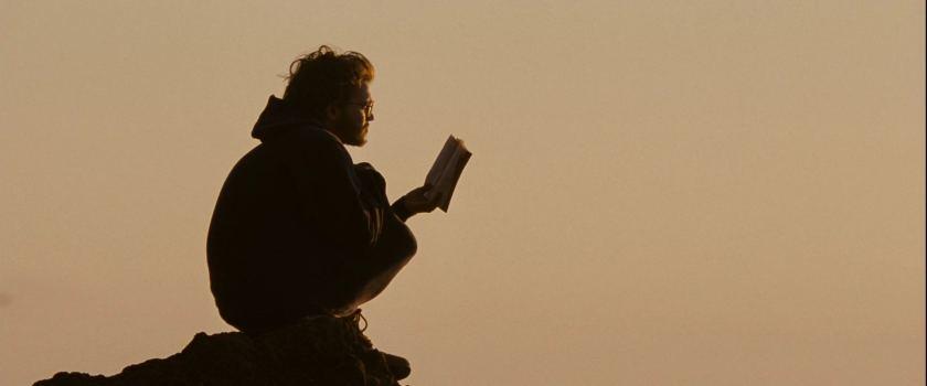into the wild christopher lisant sur un rocher
