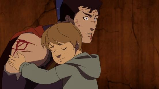 la mort de superman enfant enlacant superman