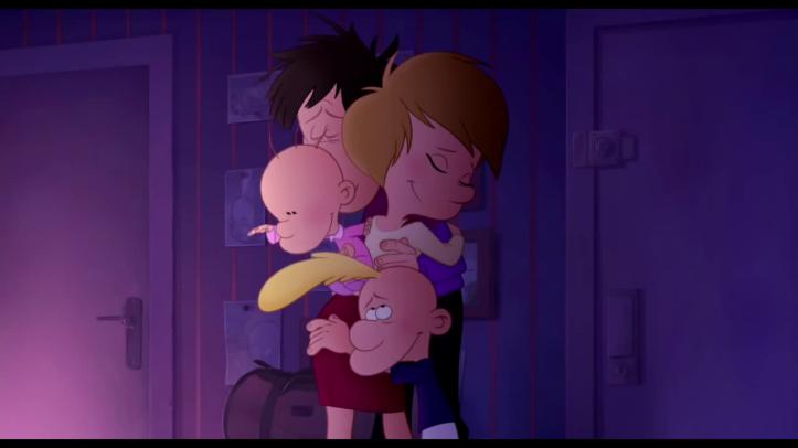titeuf le film le pere de titeuf prend sa femme et ses enfants dans ses bras