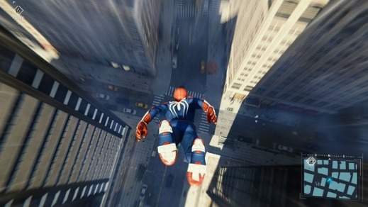 marvel spiderman ps4 vitesse chute d'un immeuble