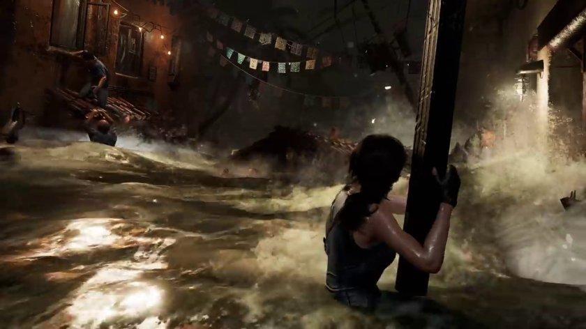Shadow of the tomb raider lara tentant de survivre à un tsunami