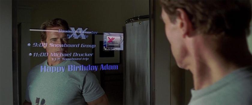 a l'aube du sixieme jour adam se regardant dans la glace et regardant son agenda sur son miroir