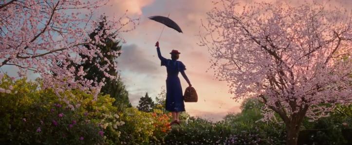 le retour de mary poppins mary poppins vole dans le ciel aidée de son celebre parapluie
