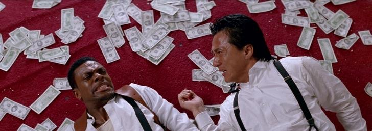 rush hour lee et carter mal en point par terre entouré de billets de banque