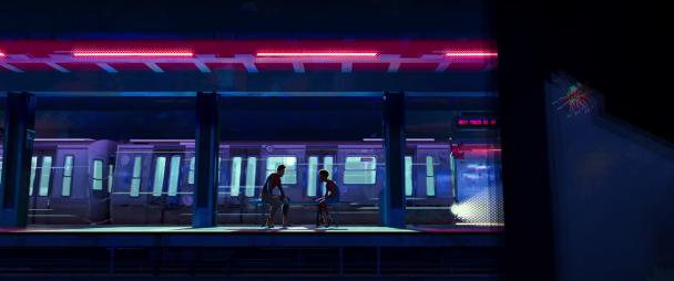 spiderman new generation miles et peter benjamin parker sur un banc dans une station de metro