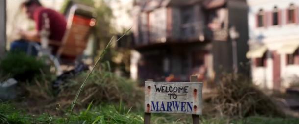 bienvenue à marwen jardin pancarte du village de marwen