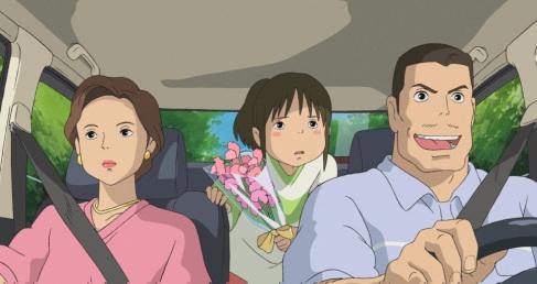 le voyage de chihiro dans la voiture des parents