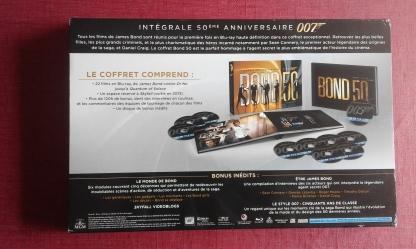 Intégrale Bluray 50ème anniversaire de James Bond arriere du leaflet