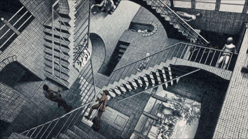 la nuit au musée le secret des pharaons larry et theodore roosevelt dans la célèbre lithographie de l'artiste néerlandais M. C. Escher