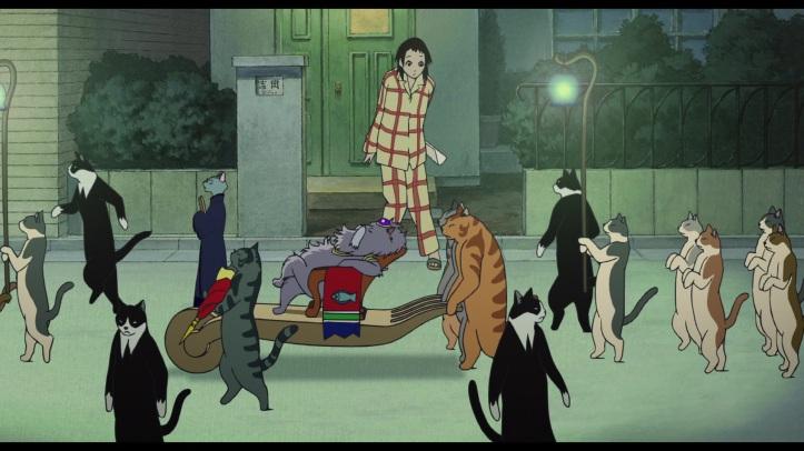 le royaume des chats haru réveillé en pleine nuit par le roi des chats venu spécialement la convier à venir dans son royaume