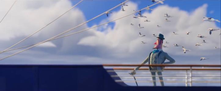 Monsieur Link Sir Lionel Frost sur un bateau prenant la pose pendant que les mouettes volent dans le ciel