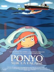 Ponyo sur la falaise affiche hayao miyazaki