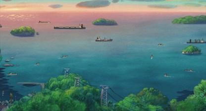 Ponyo sur la falaise bateaux circulant sur la mer