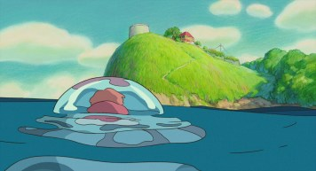 Ponyo sur la falaise ponyo caché dans une méduse arrive devant la maison de sosuke