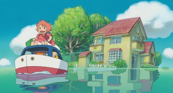 Ponyo sur le falaise Sosuke et Ponyo sur un petit bateau quitte leur maison innondée