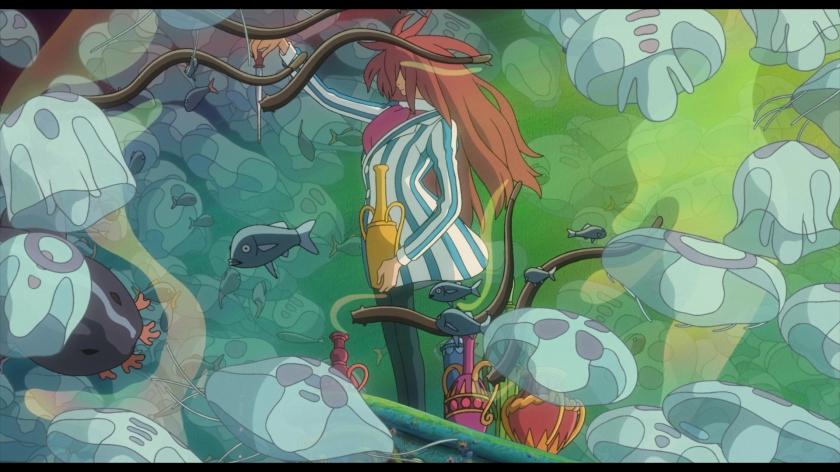Ponyo sur le falaise sous l'eau parmi les méduses le sorcier fujimoto fait des expériences avec l'« eau de vie »