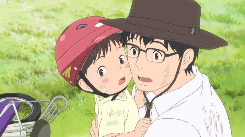 Mirai ma petite soeur Kun en pleure dans les bras de son père