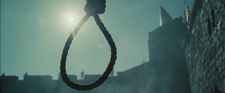 Pirates des caraibes jusqu'au bout du monde vue sur une corde pour des pendaisons