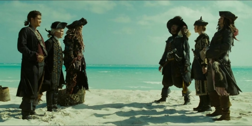 Pirates des caraibes jusqu'au bout du monde will turner lord beckett et davy jones font face à barbossa sparrow et swann de nouveaux camps se forment