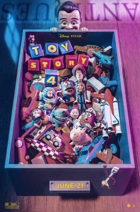 Toy Story 4 affiche un pantin regarde un tiroir où se trouve woody et ses amis