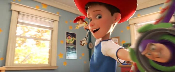 Toy Story 4 Andy enfant joue avec Jessie et Buzz l'éclair