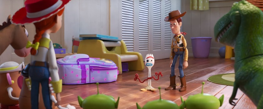 Toy Story 4 Woody présente Fourchette aux jouets de Bonnie